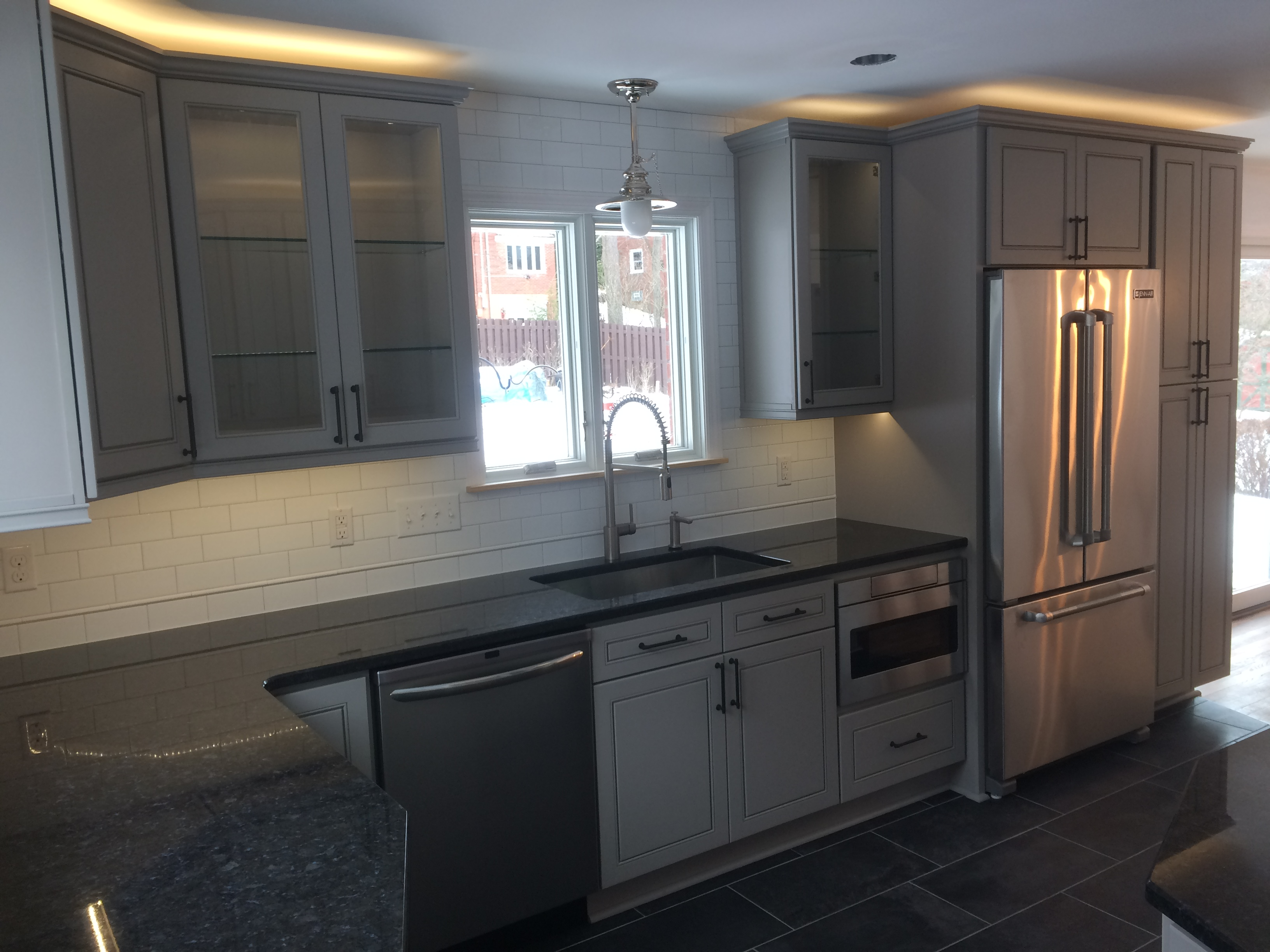 Kitchen With Gray Cabinets And White Subway Tile Lux