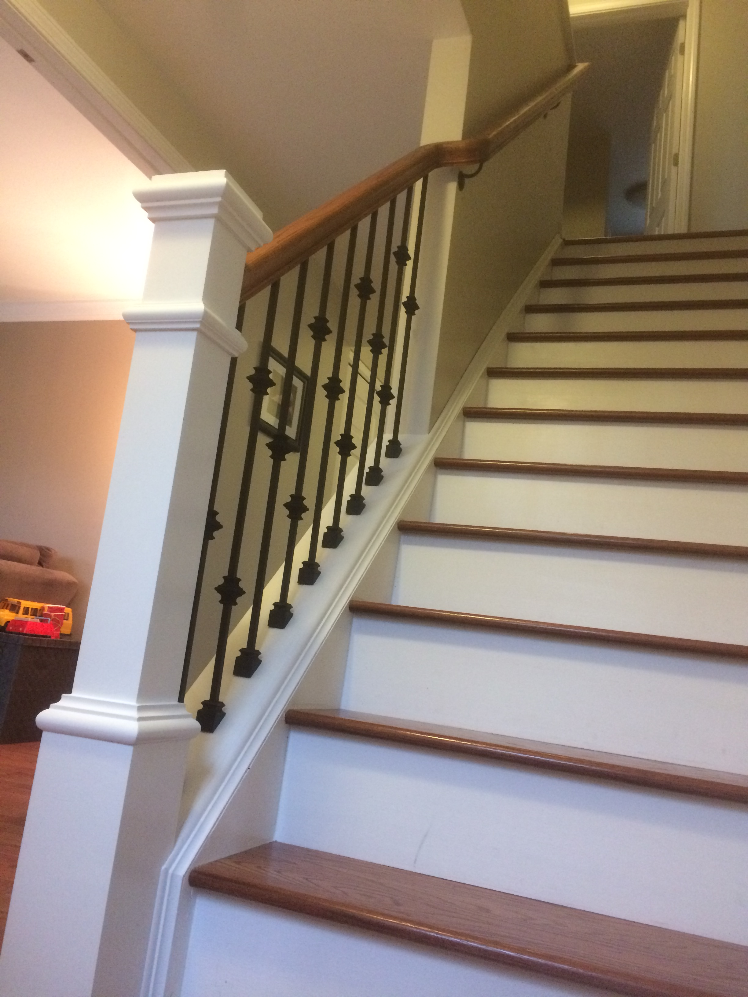 Wood Iron Railings : Wood railing with wrought iron balusters lux design and