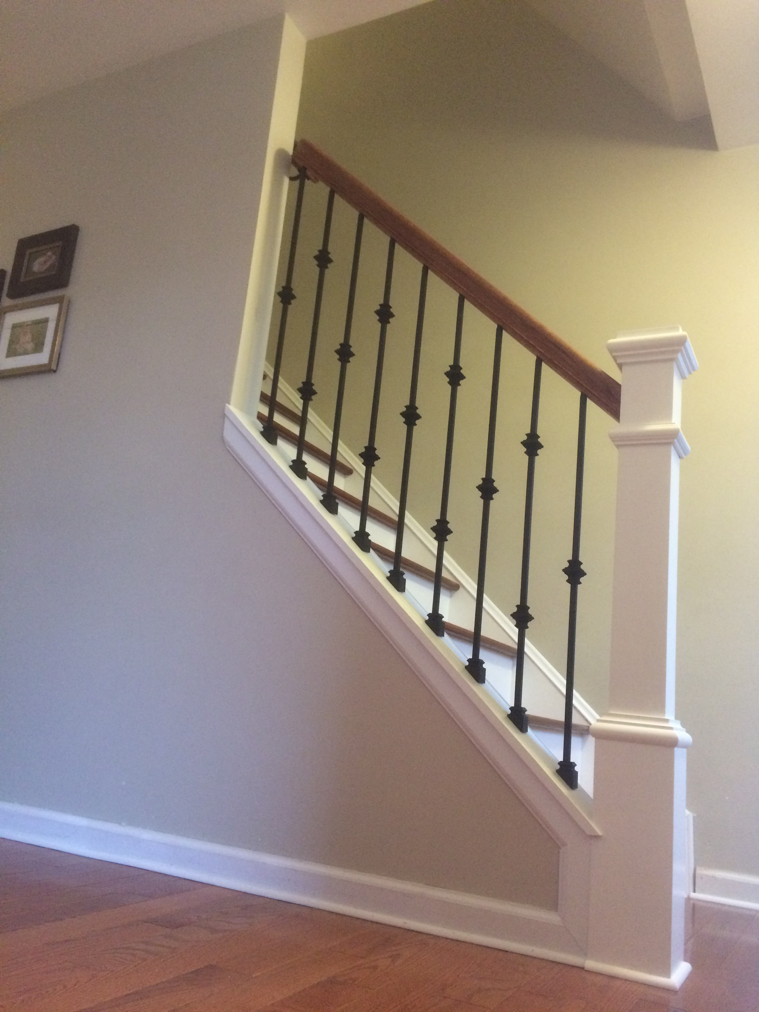 Wood Railing With Wrought Iron Baers