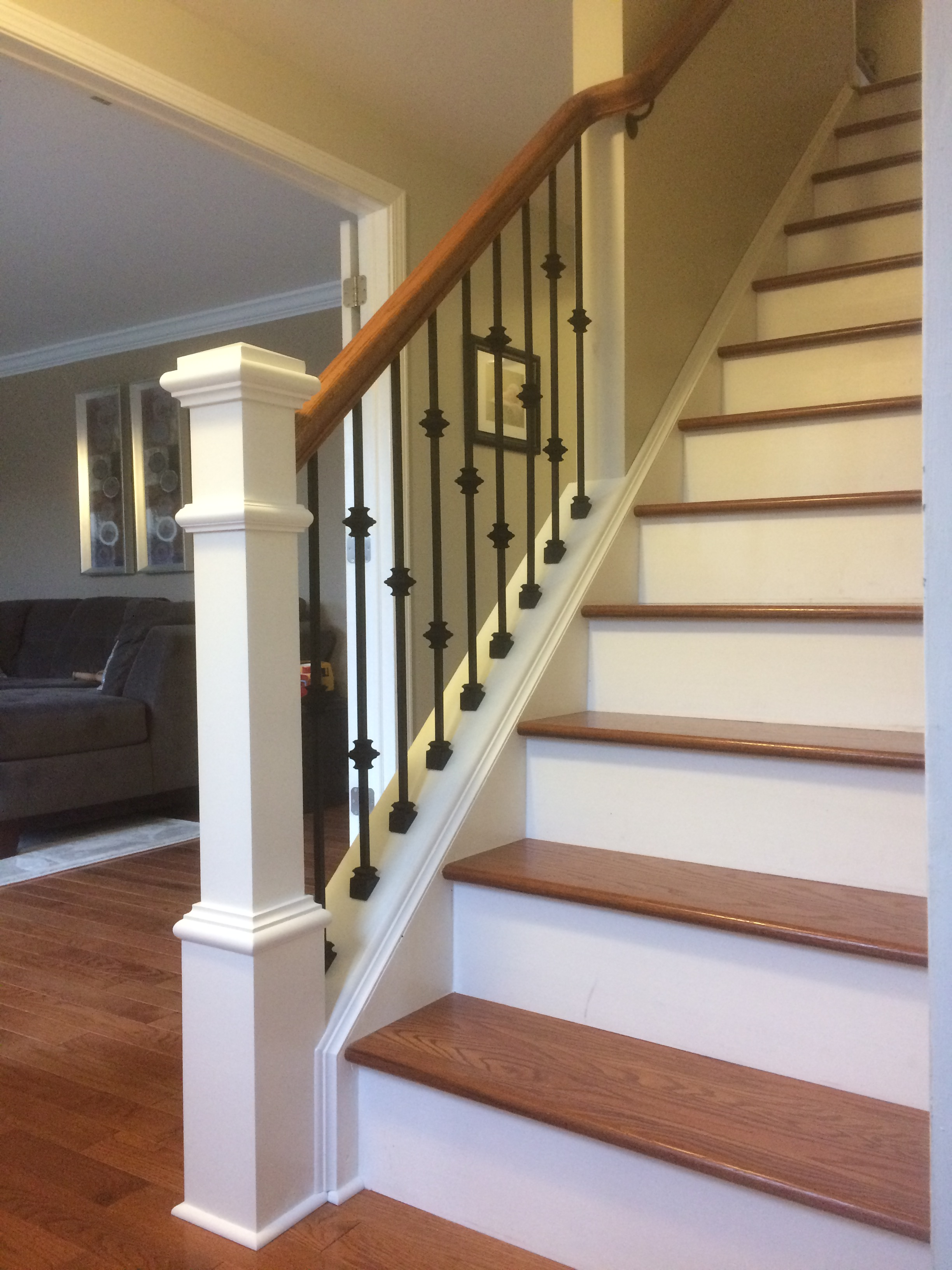 Wood railing with wrought iron balusters - Lux Design and ...